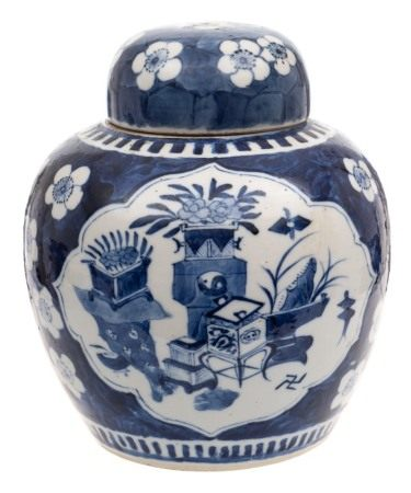A Chinese blue and white ginger jar and cover: painted with two foliate panels of auspicious