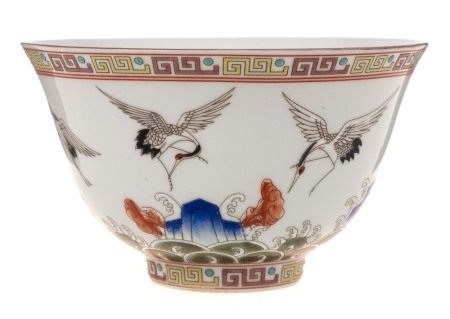 A Chinese cranes bowl: of rounded form with flaring rim,