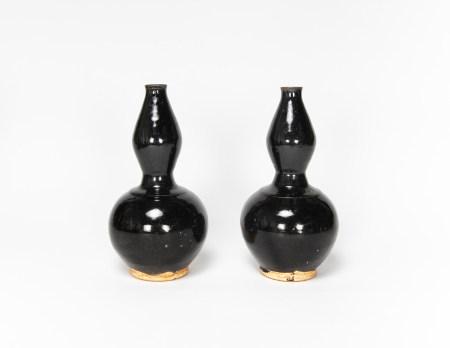 元代-磁州窯葫蘆瓶一對