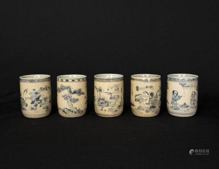 明代-「福」字款福建漳州窯煎茶杯五客