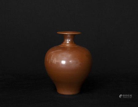 宋代-耀州窯醬釉瓶