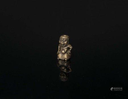 清代-青銅人物護法像