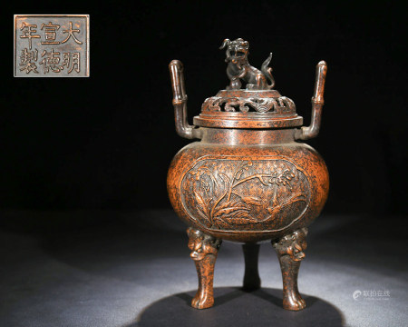 Chinese Bronze Tripod Foolion Cover Censer