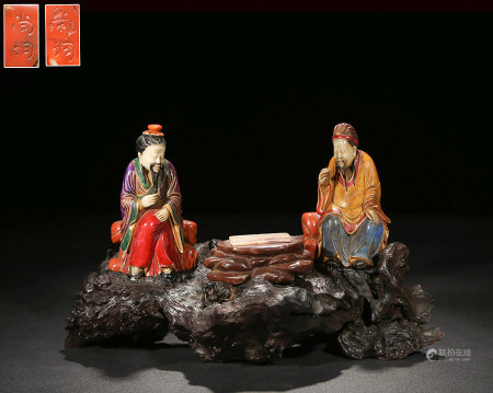 Chinese Polychrome Soapstone Carved Figurines