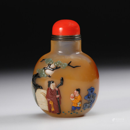 Chinese Agate Snuff Bottle With Inlaid