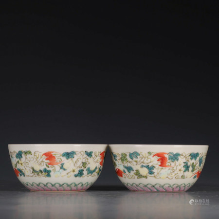 Chinese Famille Rose Porcelain Bowl, Pair