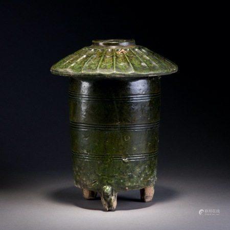 漢 綠釉穀倉罐