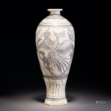 宋 磁州窯褐彩鳳紋梅瓶