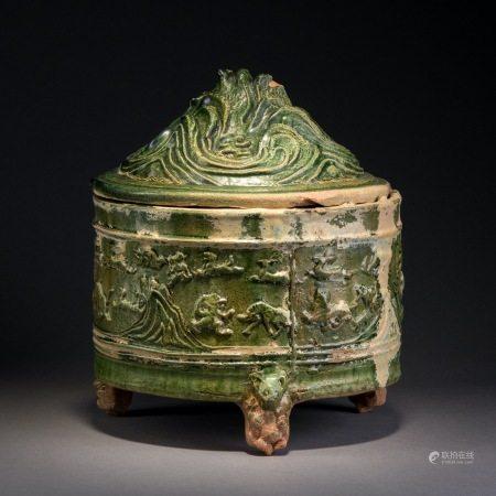 漢 綠釉博山爐