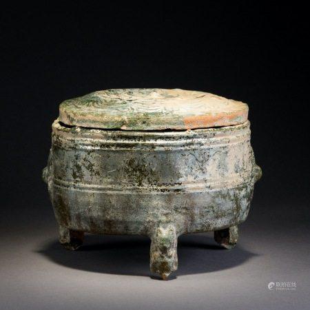 漢 綠釉三足爐(有蓋)