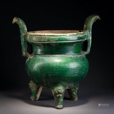 漢 綠釉三獸足鼎式爐