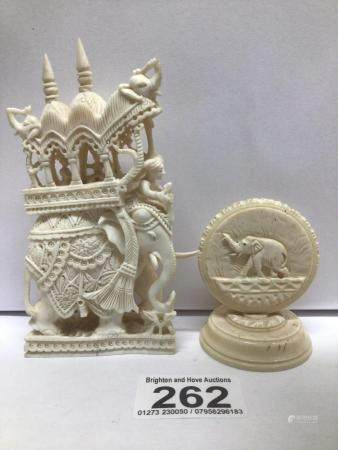TWO LATE 19TH, EARLY 20TH CENTURY BONE ORIENTAL CARVINGS ONE OF THE ELEPHANTS BEING RODE, THE