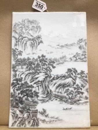 A CHINESE PORCELAIN PLAQUE 37 X 25 CM