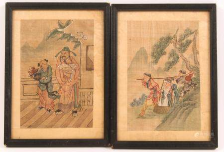 EARLY 20TH C. CHINESE SILK PAINTINGS - LOT OF 2