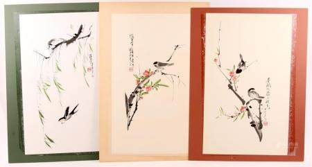 CONTEMPORARY CHINESE INK PAINTINGS - LOT OF 3