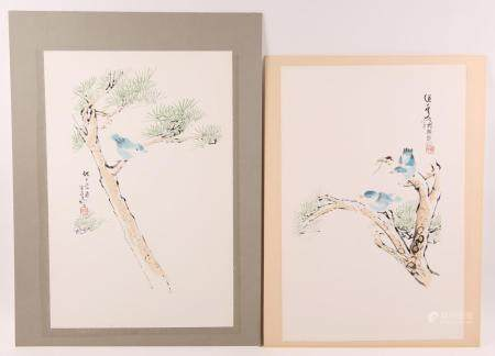 CONTEMPORARY CHINESE INK PAINTINGS - LOT OF 2