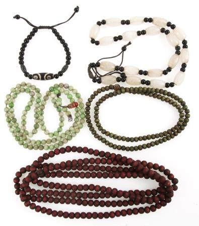 TIBETAIN STONE PRAYER BEADS, WOOD BEAD NECKLACES & MORE