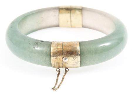 CHINESE 14K YELLOW GOLD PLATED JADE BANGLE BRACELET