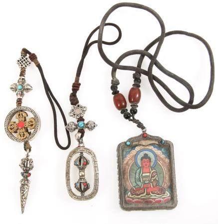 TIBETAN AMULET PENDANTS - VAJRA DORJE, PHURBA, BUDDHA