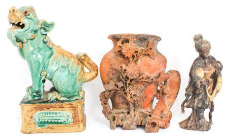 CHINESE CARVED SOAPSTONE INK WELL, FIGURINE & FOO DOG