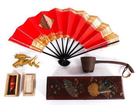 JAPANESE NETSUKE, BOX, TEA SCOOP, SPEAR PLANE & MORE
