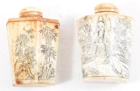 CHINESE BONE CARVED SNUFF BOTTLES - LOT OF 2