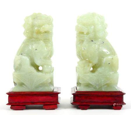 PAIR OF CHINESE CARVED SERPENTINE JADE FOO DOGS