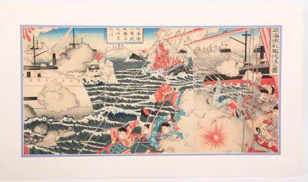 ENEMY SHIPS SINK AT IHAIWEI WOODBLOCK, UTAGAWA KUNITORA