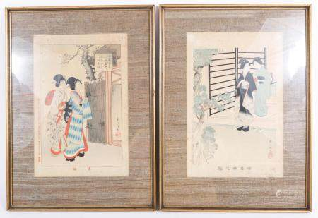 SHUNTEI MIYAGAWA JAPANESE WOODBLOCK PRINTS - LOT OF 2
