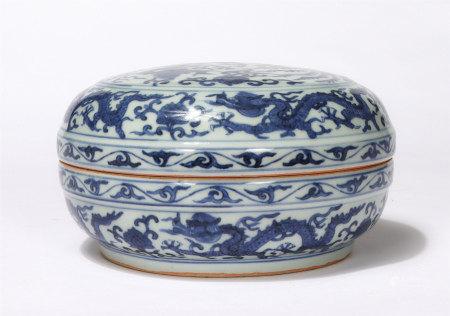 Chinese Blue White Dragon Phoenix Lidded Box