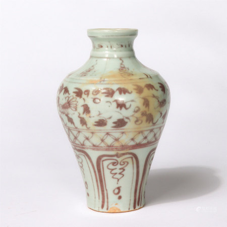 Chinese Underglaze Red Flower Pattern Porcelain Meiping