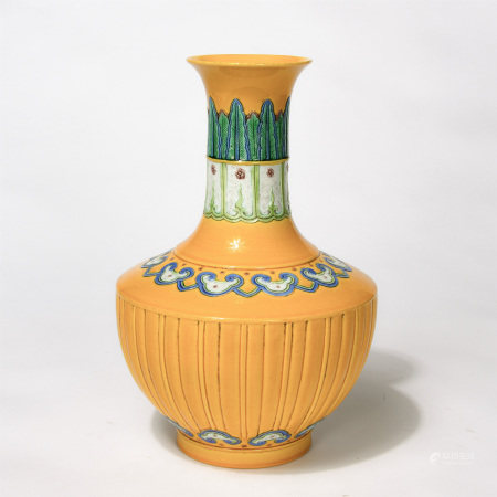Chinese Yellow Ground Engraved Pattern Famille Rose Vase