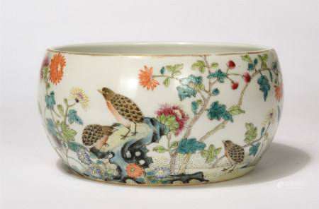 Chinese Famille Rose Flower And Bird Porcelain Washer