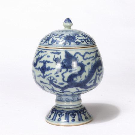 Chinese Blue White Dragon Pattern Lidded Jar