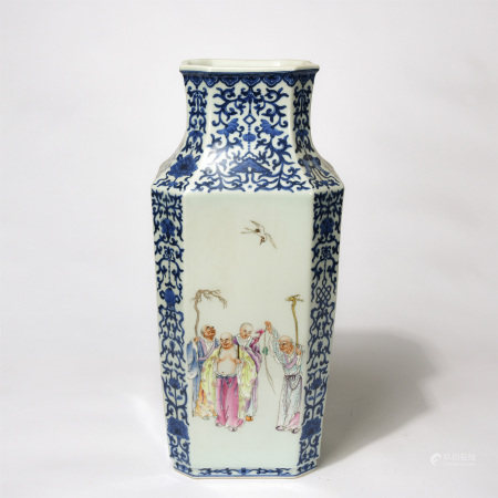 Chinese Blue White Famille Rose Figure Story Square Vase
