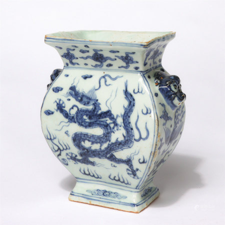 Chinese Blue White Dragon Pattern Beast Handles Square Vase