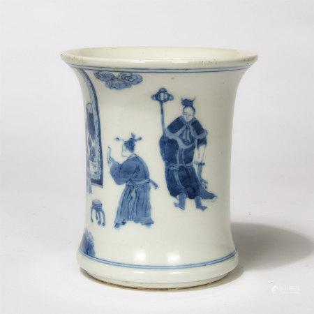 Chinese Blue White Figure Story Porcelain Brush Pot