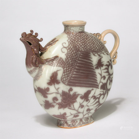 Chinese Underglaze Red Porcelain Flat Pot With Rooster-Head-Shape Spout