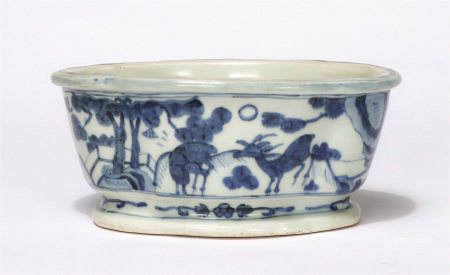 Chinese Blue White Deer And Pine Tree Oval Basin