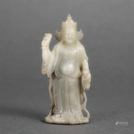 Chinese Jade Carved Figurine Of Guanyin