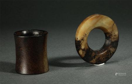 Pair Of Chinese Jade Ornaments, Jade Disc And Jade Loop