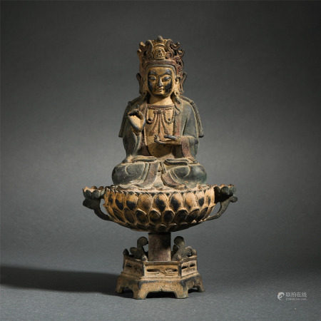 Chinese Bronze Statue Of Seated Bodhisattva On Lotus Pedestal