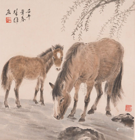 Chinese Hanging Scroll Painting Of Horses And Willow Tree