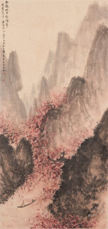 Chinese Painting Of Elegant Scholar On The River Among Mountain