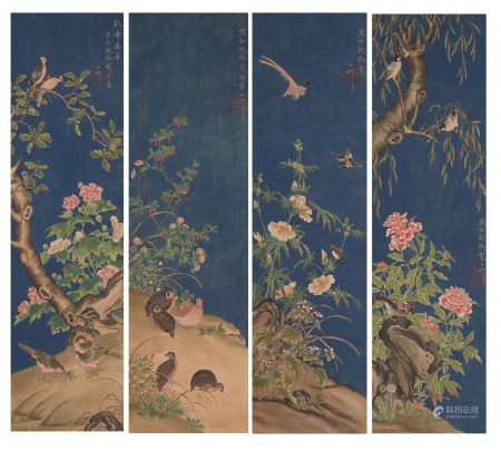 Chinese Gongbi Painting Four Hanging Scrolls Of Flowers And Birds