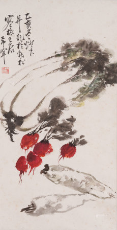 Chinese Painting Hanging Scroll Of Vegetables