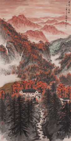 Chinese Painting Hanging Scroll Of Octagon House In Jinggang Mountains