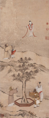 Chinese Painting Hanging Scroll Of Mythical Figure Story