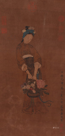 Chinese Painting Hanging Scroll Of Lady Carrying A Flower Basket