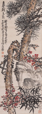 Chinese Painting Hanging Scroll Of Pine, Bamboo And Plum
